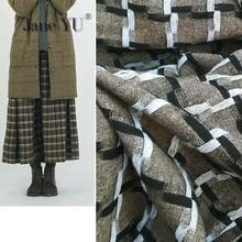 JaneYU Autumn wool thin plaid fabric Color woven thread wool Nizi women's skirt fabric Black and white thread interwoven fabric photochromic wool fabric