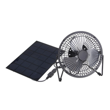 DSHA -USB 5.5W Iron Fan 8Inch Cooling Ventilation Car Cooling Fan+ Black Solar Panel Powered for Outdoor Traveling Fishing Hom