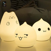 Portable Silicone LED Multicolor Night Lamp Battery Powered Children Night Light Sensitive Tap Control For Baby