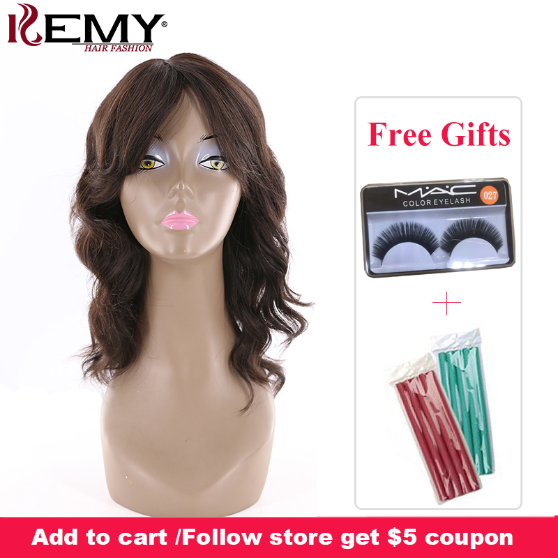 Loose Wave Human Hair Wigs With Bangs KEMY HAIR FASHION 16 Natural Color Shoulder Length Brazilian
