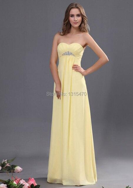 2954510d208 Beading Empire Waist Light Yellow Bridesmaid Dress Chiffon Sweetheart Off  the Shoulder A Line Vestido De Festa Longo Elegant
