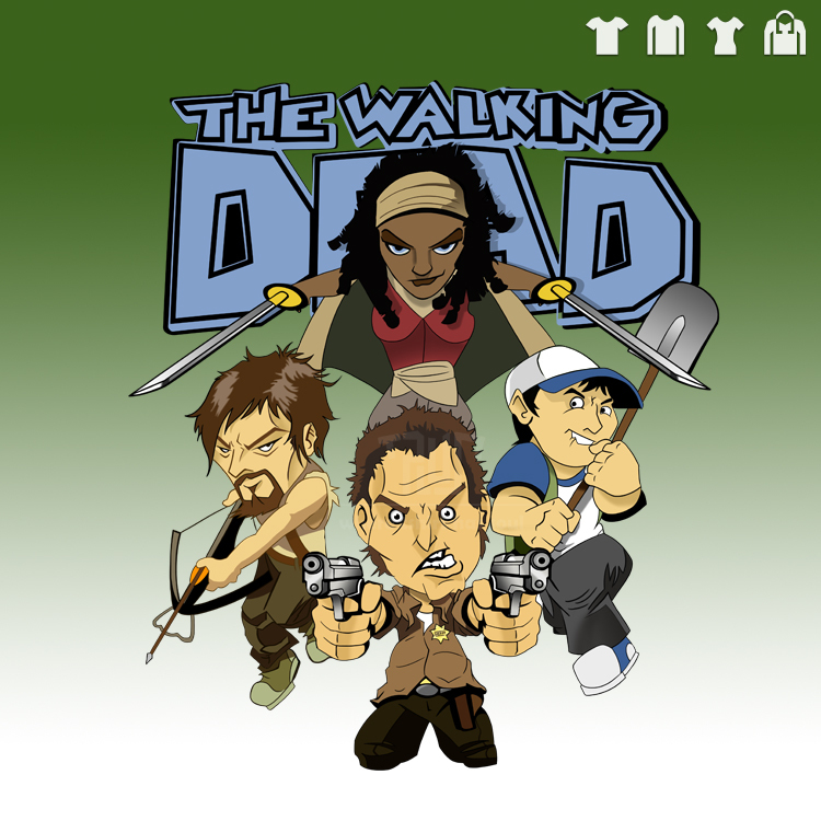 Walking Dead Rick Daryl Michonne Cartoon Drawing Men Unisex Short
