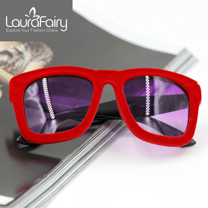Laura Fairy New Fashion Flock Women Sunglasses Villus Značkový designér Velvet Sunglasses Freeshipping oculos de sol