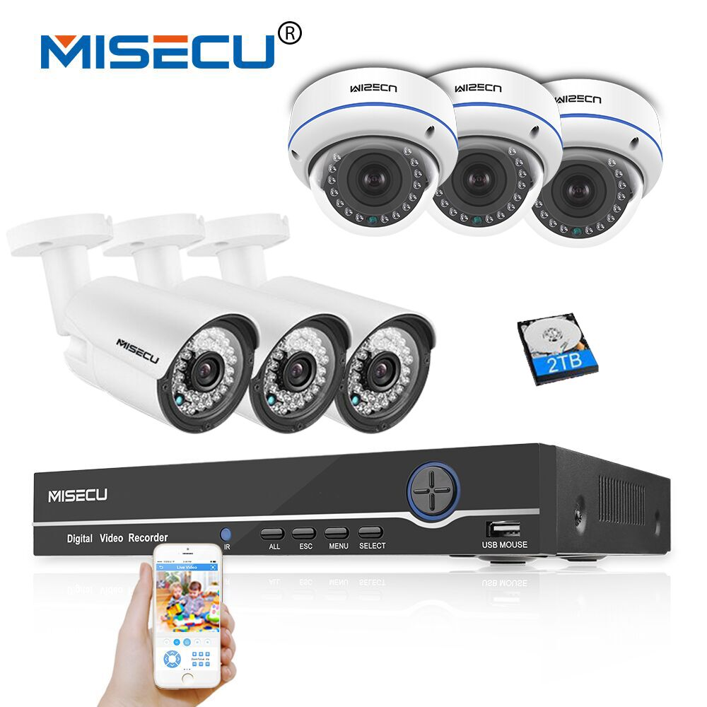 8CH HD Real POE NVR KIT 1080P 48V 2MP 1080P 6 Bullet Dome POE IP IR