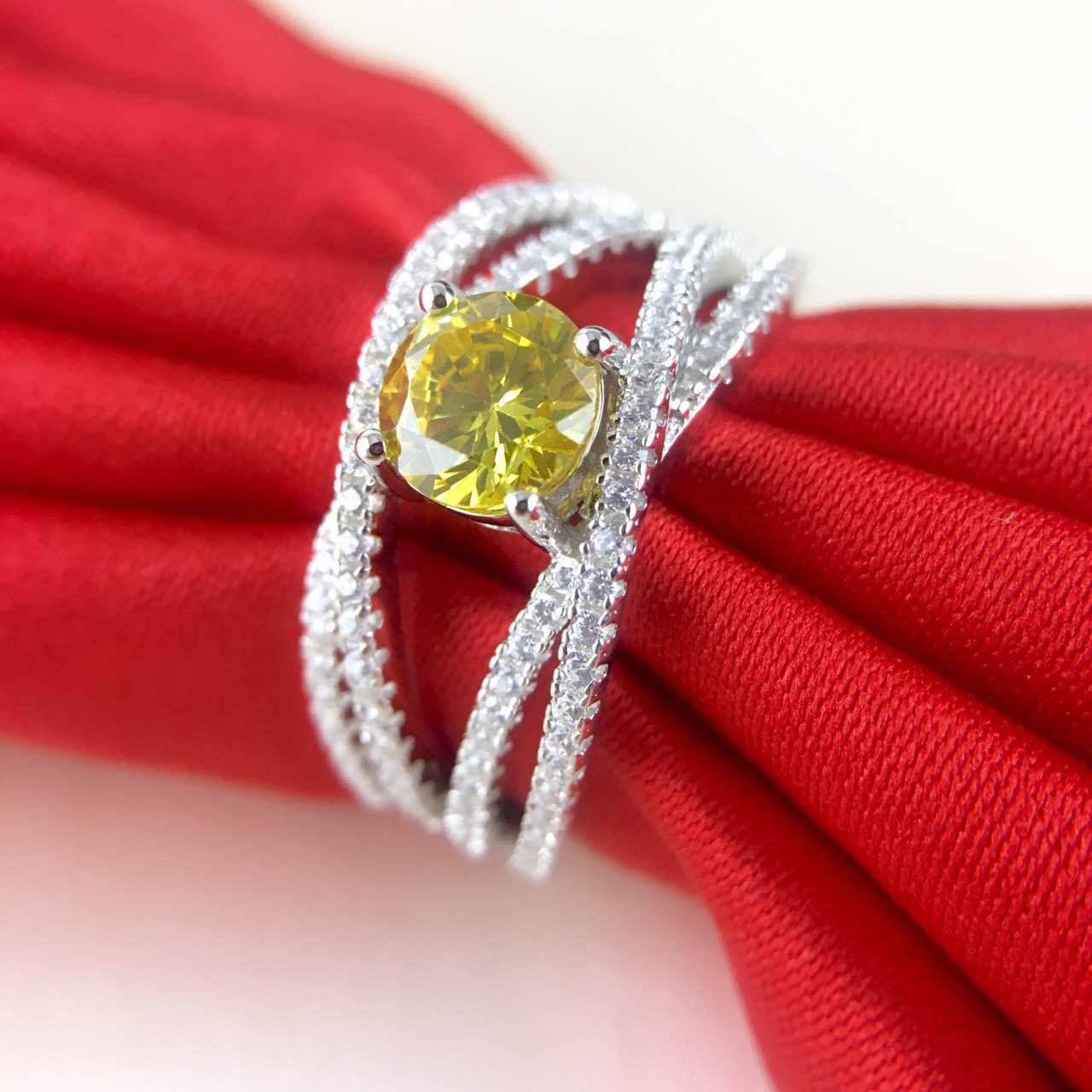 Original jaune 0.8 ct diamant synthétique argent mariage croix noeud bague de mariage bijoux (JSA)