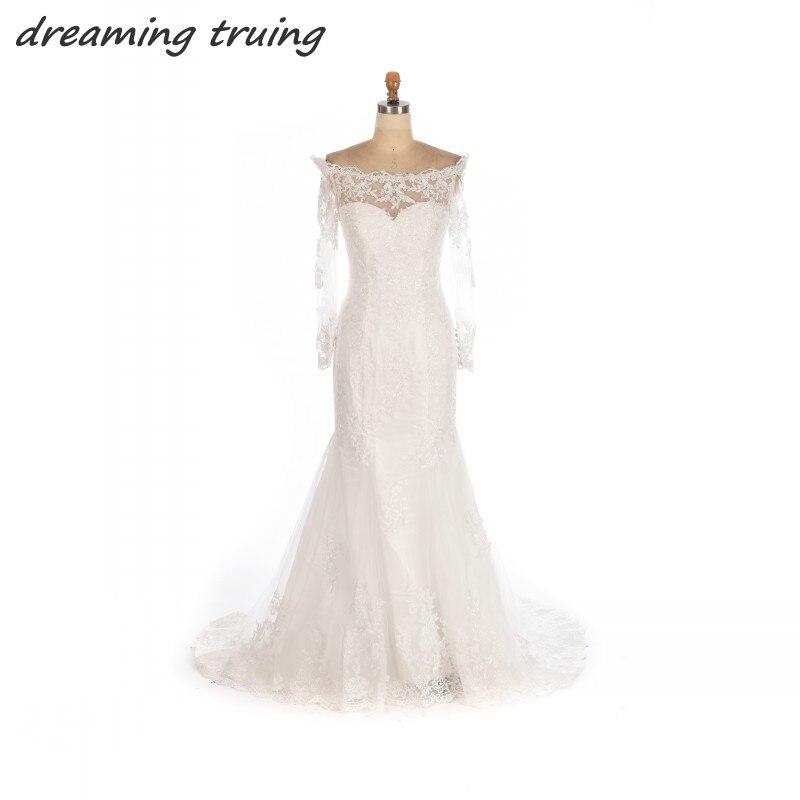 Charming Boho font b Wedding b font Dresses Bohemian Elegant Mermaid Sheer Long Sleeves Lace font