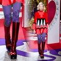 Качество мода личность фиолетовый геометрия фрукты печати колготки носки женщина