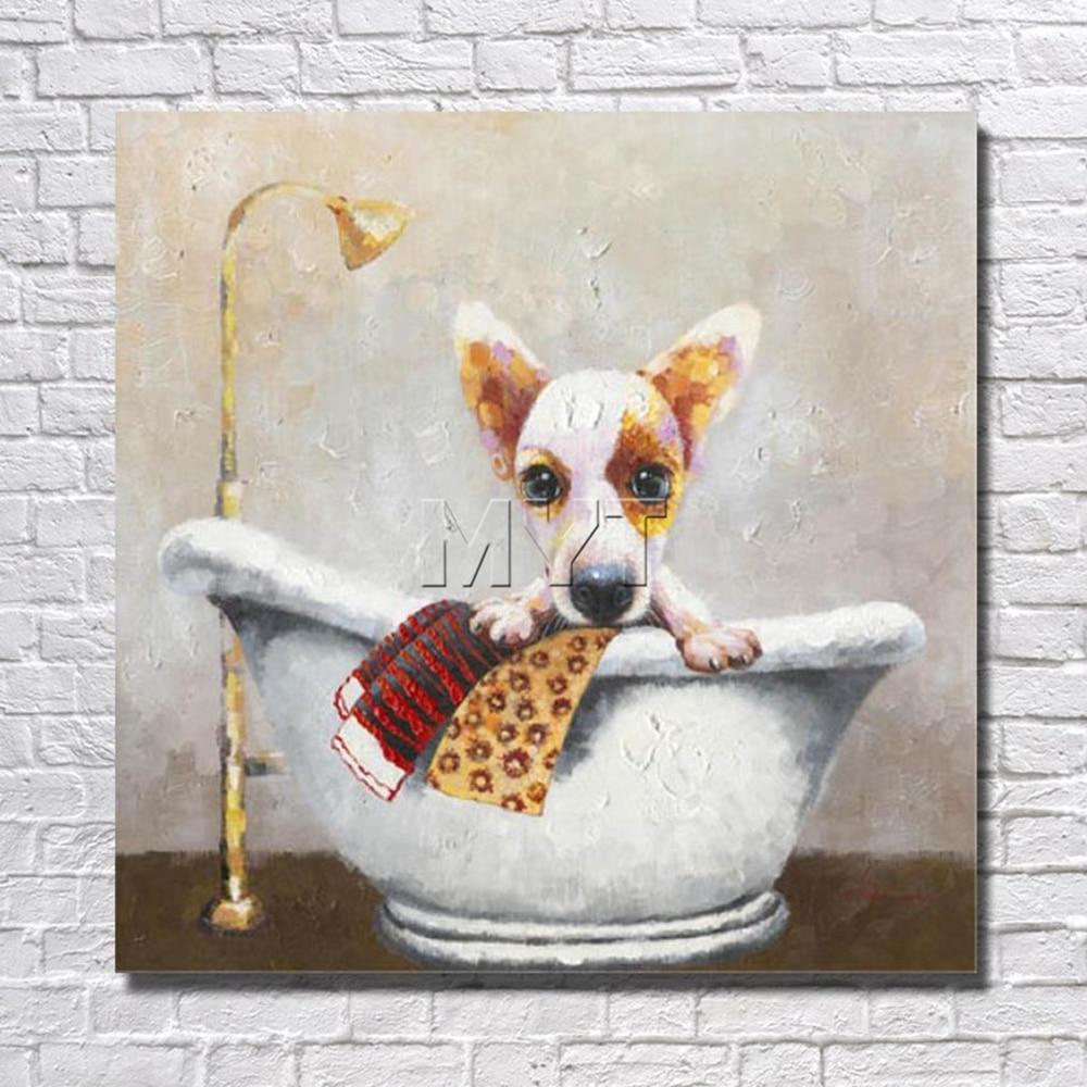 b520e54b0 صور مضحكة بالجملة للبيع الاستحمام الكلب نوم ديكور المنزل مع مؤطرة اللوحة  مستعدة لشنق الفني
