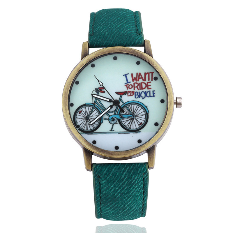 2019 Fashion Brand Quartz Watches Bicycle Pattern Cartoon Watch Women Casual Vintage Leather Girls Kids Wristwatches Gifts Clock