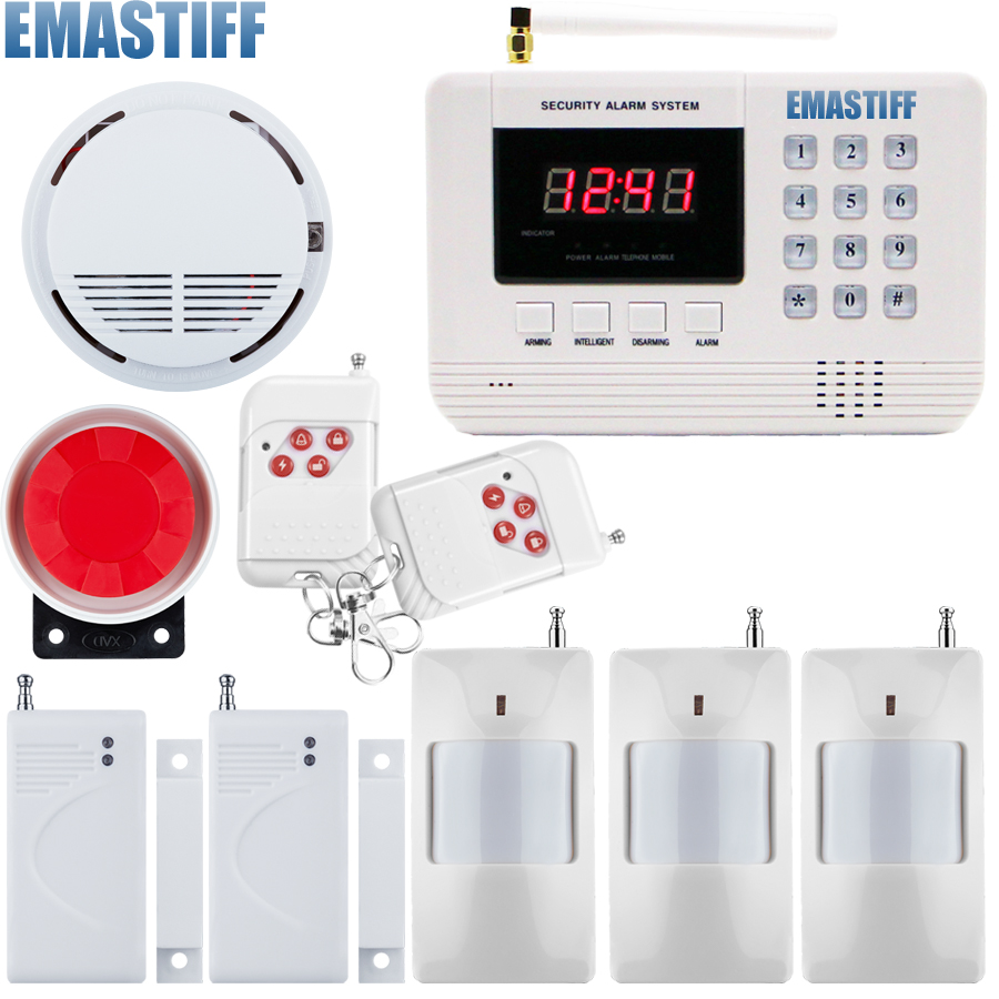 Free shipping Home Wireless GSM PSTN Alarm System Intelligent Home Security PSTN Alarm System with Smoke Sensor free shipping 99 wireless zone and 2 wired quad band lcd home security pstn gsm alarm system 3 pet immune pirs 5 new door sensor