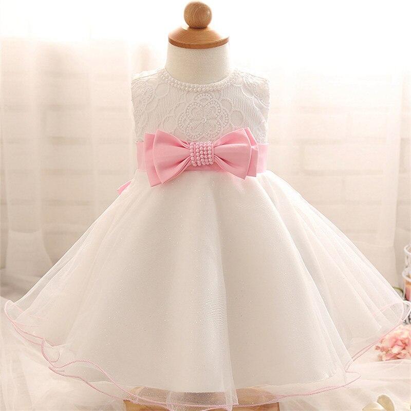 High Quality Baby Girl Sleeveless Baptism Dress for Girl Infant Birthday Party Princess Dress Infant Girl Veil Bow Beaded Dress