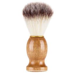 Новая мягкая из кожи крупного рогатого скота, украшения для волос бритья кисточка с деревянной ручкой усы Очищение Парикмахерская нейлон