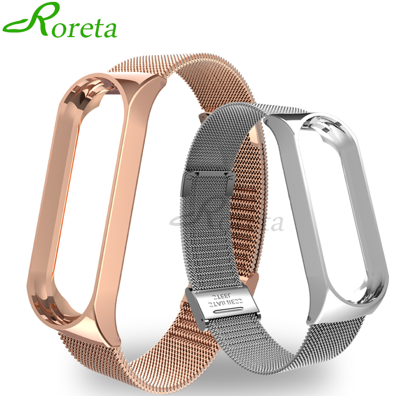 Roreta Mi Band 3 4 Wrist Strap Metal Stainless Steel Wrist Strap For Xiaomi Mi Band 4 3 Bracelet Miband 4 3 Wristbands Strap