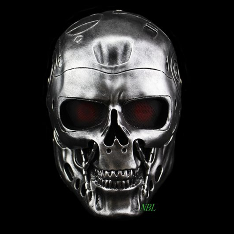 Halloween COS Terminator Helm Masker Horror CS Paintball Hantu Creepy Resin Masker Masquerade Skull Movie Party Cosplay Alat Peraga