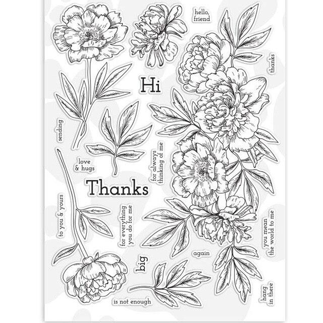 """15*18 ס""""מ פרחים ועלים שקוף ברור בולים/סיליקון חותמות DIY רעיונות אלבום תמונות/כרטיס ביצוע"""