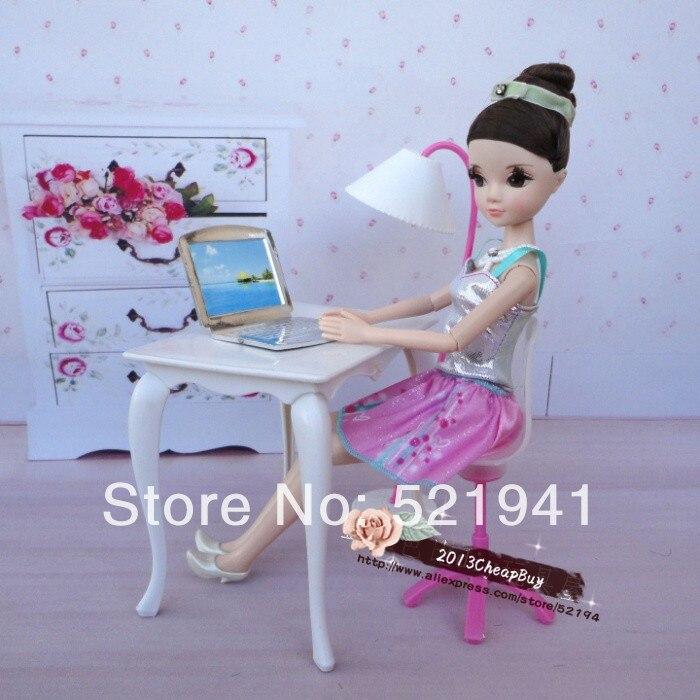6268d14aa شحن مجاني ، دمية الأثاث مكتب + مصباح + محمول + ملحقات كرسي ل دمية باربي