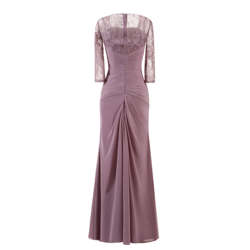 W.JOLI Long Evening Dress Elegant Lace Pleat Bride Banquet Floor-length Prom Gown lavender Purple Vintage Wedding Party Dress 4