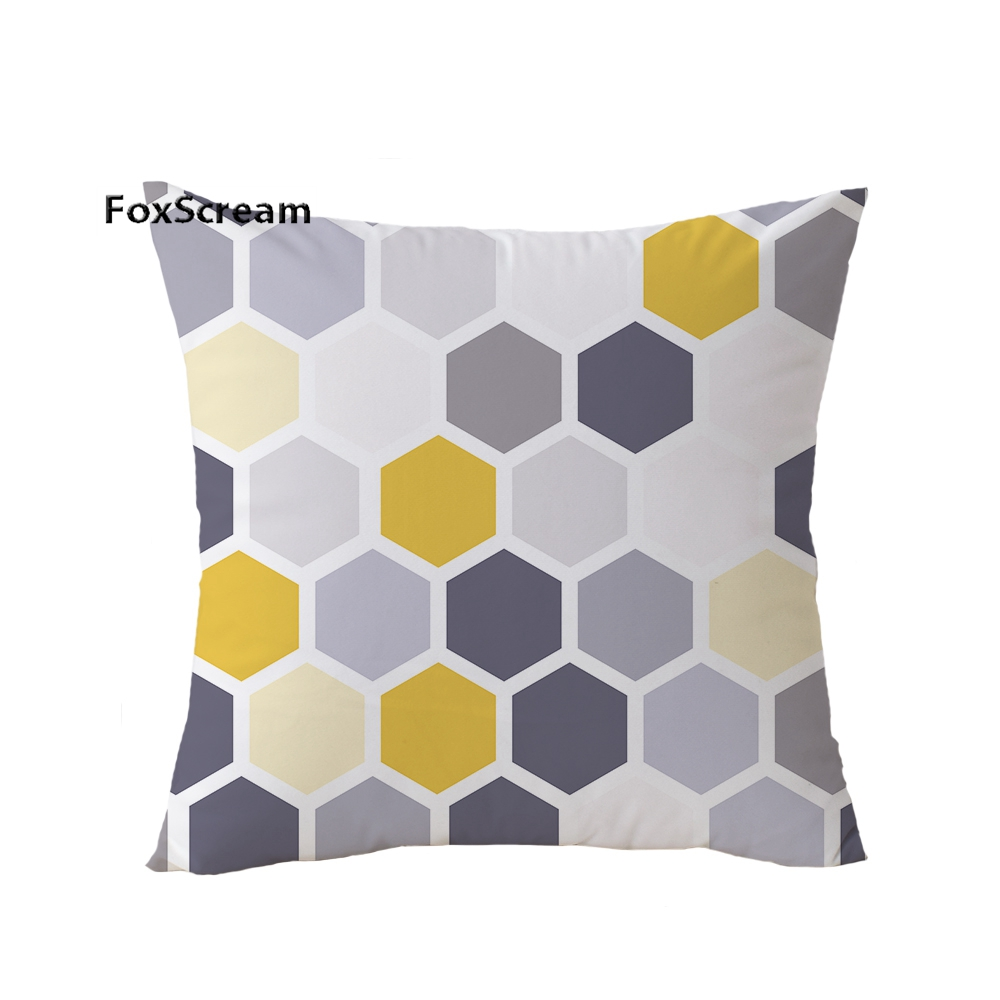 Aliexpress Grey Decorative Pillows Cases Throw Cover Yellow Geometric Cushion Home Decor Velvet Pillowcase For Sofa 45 45cm From