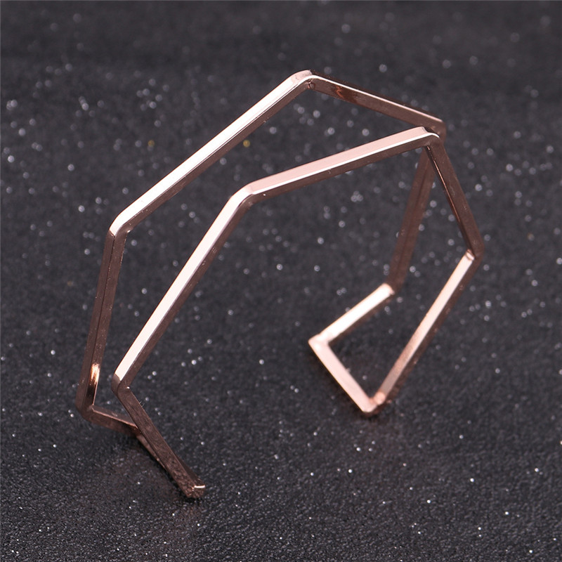 Drop Shipping Geometric Shape Copper Bangle for Women Girl Gift Rose Gold Color Hollow Cuff Open Bangle Bracelet Jewelry