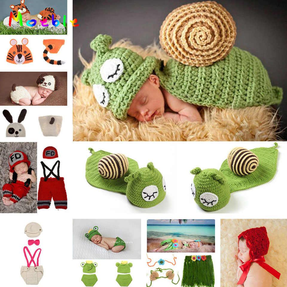 6cc526e2d Sleepy Snail Infant Baby Photo Props Boy&Girl Crochet Hats Beanie Handmade  Baby Costume Outfits 1set MZS-14053