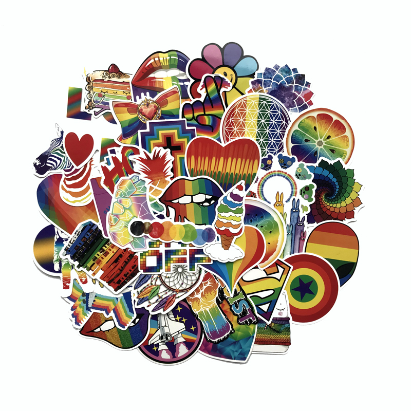 TD ZW 60Pcs/lot Rainbow Graffiti Stickers Decal For Children To Laptop Suitcase Guitar Fridge Bicycle Car Sticker Pegatina