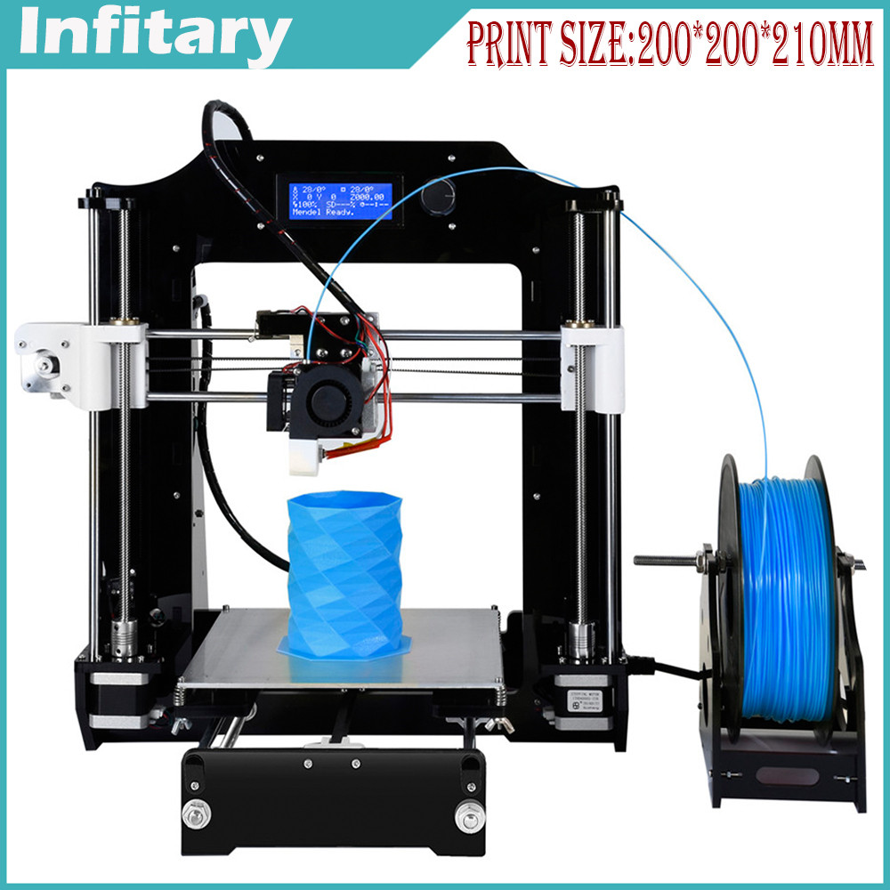 2016 New 3D printer High Quality Precision Reprap Prusa i3 diy 3d Printer kit with one roll Filament 8GB SD card & LCD Screen