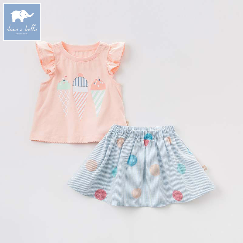 Dave bella summer baby fashion tops+skirt 2 pcs suits children lovely clothes kids high quality girls clothing sets DBB6871 db4499 dave bella summer baby girls lovely clothing sets kids stylish clothing sets toddle cloth kids sets baby fancy clothes