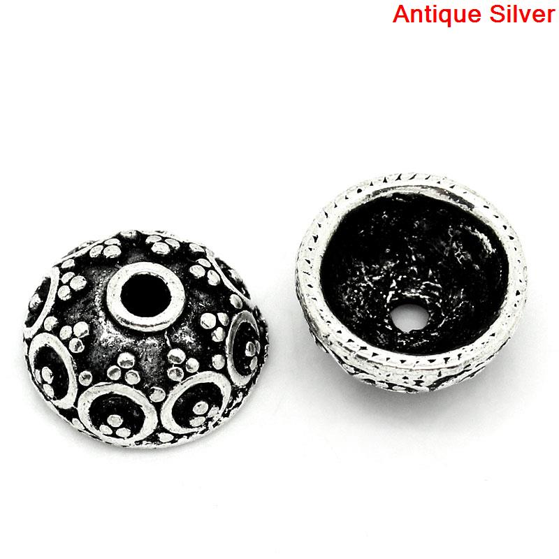 DoreenBeads Zinc Metal Alloy Beads Caps Flower Antique Silver(Fits 20mm Beads)Pattern Pattern 10mm(3/8