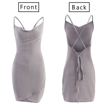New Women Sequined Bodycon Sparkly Backless Bandage Sleeveless Evening Party Club Mini Dress Sundress 6