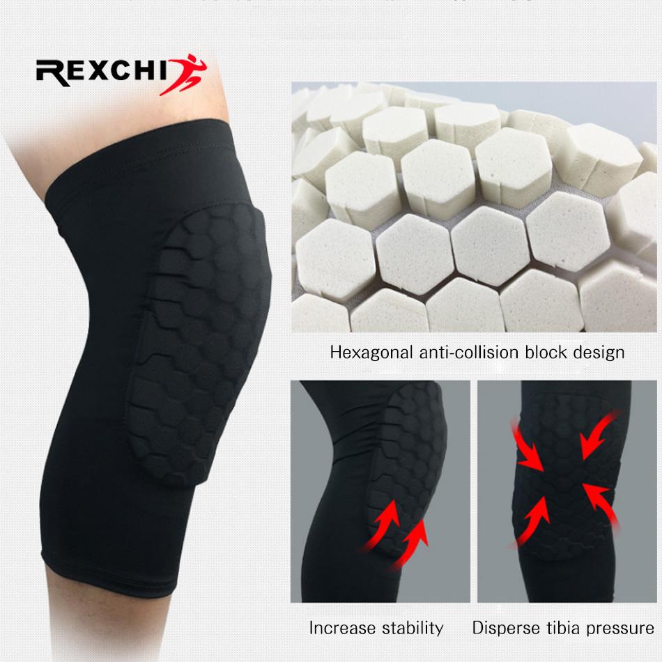 REXCHI 1PC Honeycomb Knee Pads Basketball Sport Kneepad Volleyball Knee Protector Brace Support Football Compression Leg Sleeves 1