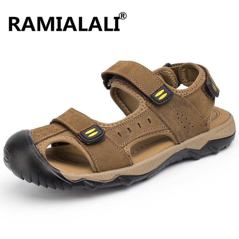 Ramialali Men Sandals Genuine Leather Cowhide Male Summer Shoes Beach Slippers Casual Leather Gladiator Sandals Plus Size 38-46