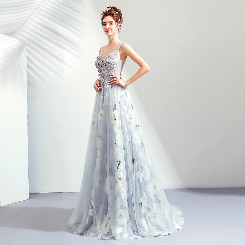 Beauty Emily   Evening     Dress   Appliques Beading Luxury Long Formal   Dresses   Pearls Sleeveless O-neck Flower Wedding Party Gown