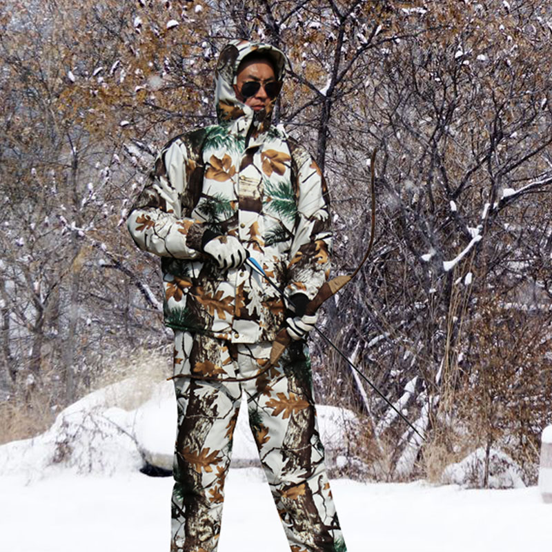 Winter Waterproof Warm Fleece Hunting Camouflage Suit Snow Bionic Camouflage Clothing Ghillie Suits Male