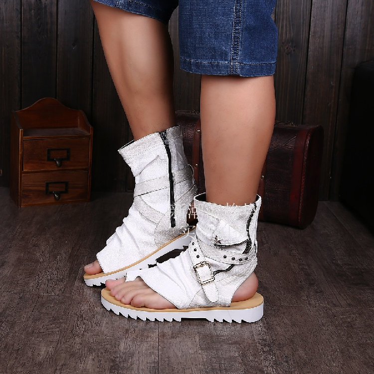 Cow Mens White Gladiators Ankle Booties Summer Shoes Flats -9103