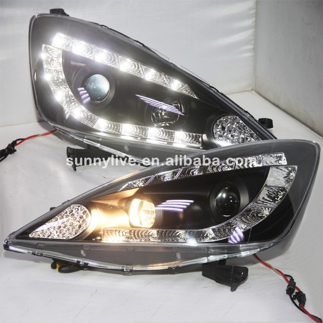For Honda Fit Jazz LED Head Lamps Projector Lens In Black