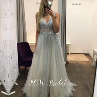 Charming See Through Sliver Evening Dress 2019 Chic Beaded Crystals V Neck Backless A Line Tulle Prom Gowns Custom Made Dresses