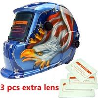 1pc Welding Helmet Premium Mask Solar Auto Darkening Welding Helmet Cap +3pcs Lens Eagle Welding Soldering Supplie