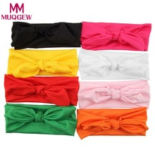 Sweet Baby Girls Toddler Bow Headbands Kids Girls Rabbit Bow Ear Headwear Turban Knot Head Wraps Rabbit Hair Bands 8pcs/pack(China)