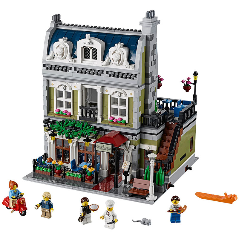 Creator Street Parisian Restaurant City Model Building Blocks Bricks Toy Compatible with Legoingly 10243 for Children Birthday a toy a dream lepin 15008 2462pcs city street creator green grocer model building kits blocks bricks compatible 10185