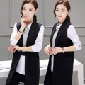 Summer And Autumn Cardigan Women Suit Vest Waistcoat 2017 Fashion Black Long Vest female Sleeveless Jacket Outerwear Plus Size