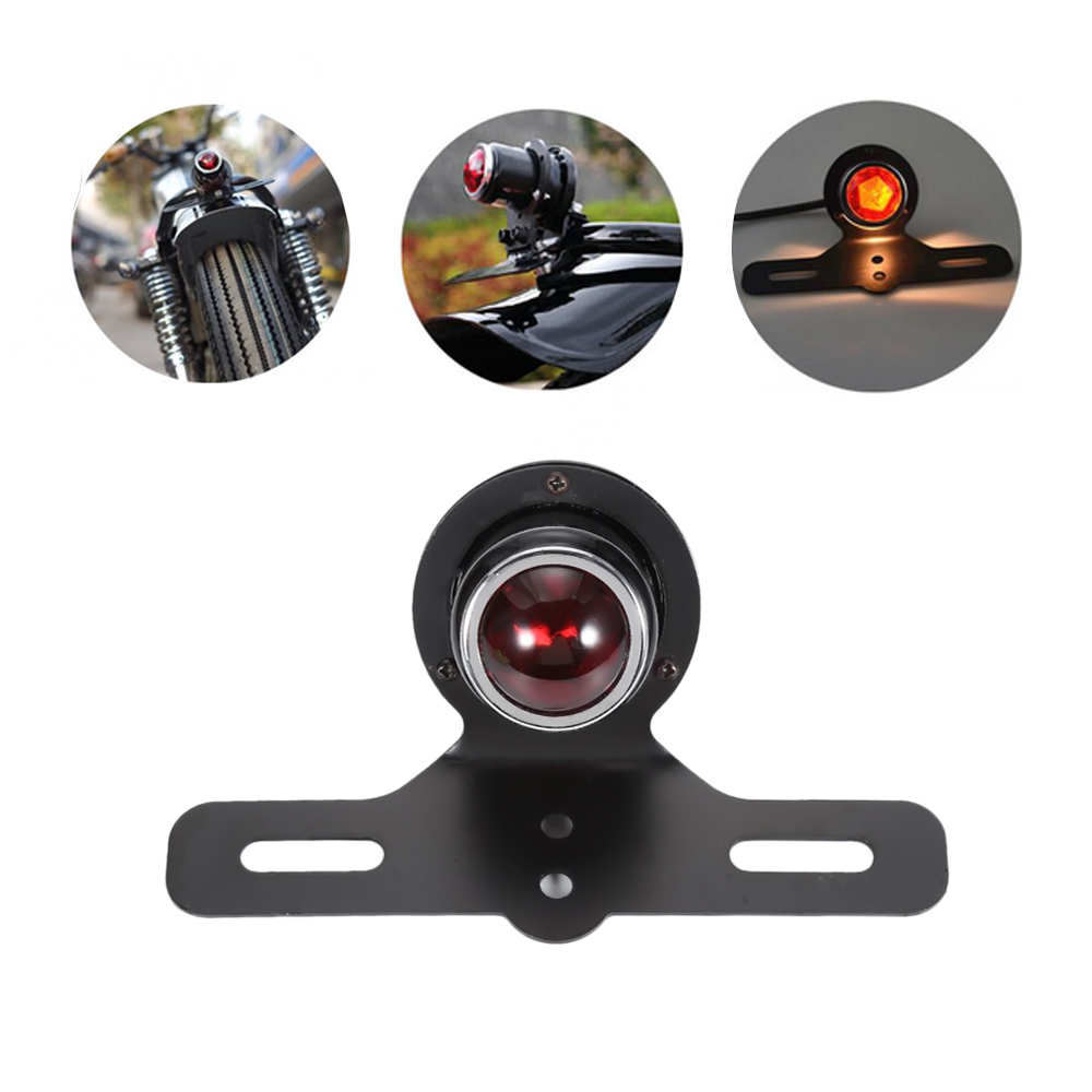 12V Black Cover Universal Motorcycle Rear Brake Stop Tail Light Steel Casing For Harley Motorcycle Red