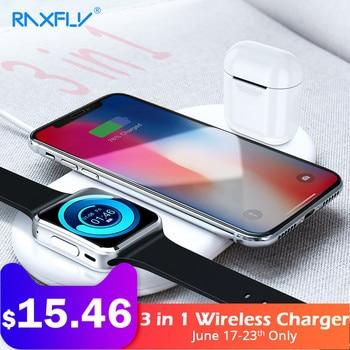 RAXFLY 3 ב 1 אלחוטי מטען עבור Apple iPhone 8 X Xr XS מקס שעון מטען עבור AirPods נייד טלפון מהיר מטען USB מתאם