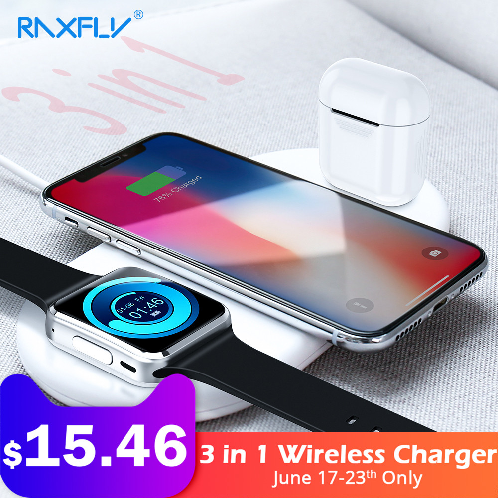 RAXFLY 3 in 1 Wireless Charger For Apple iPhone 8 X Xr XS Max Watch Charger For AirPods Mobile Phone Fast Charger USB Adapter