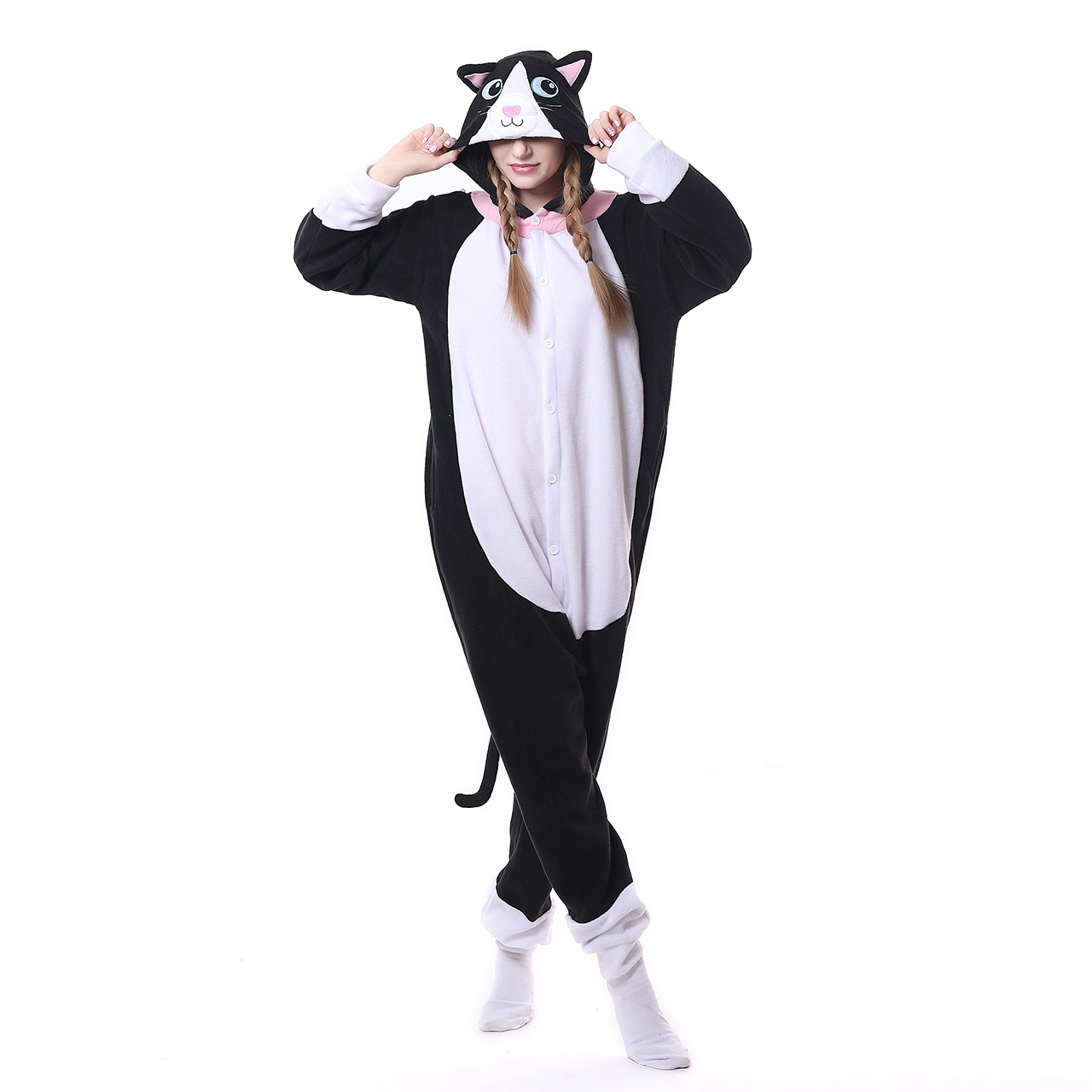 Kigurumi Animal Pink Cat Onesie Men Women Cartoon Matching Pajama Overall Adult Sleepwear Flannel Carnival Jumpsuit Fantasias
