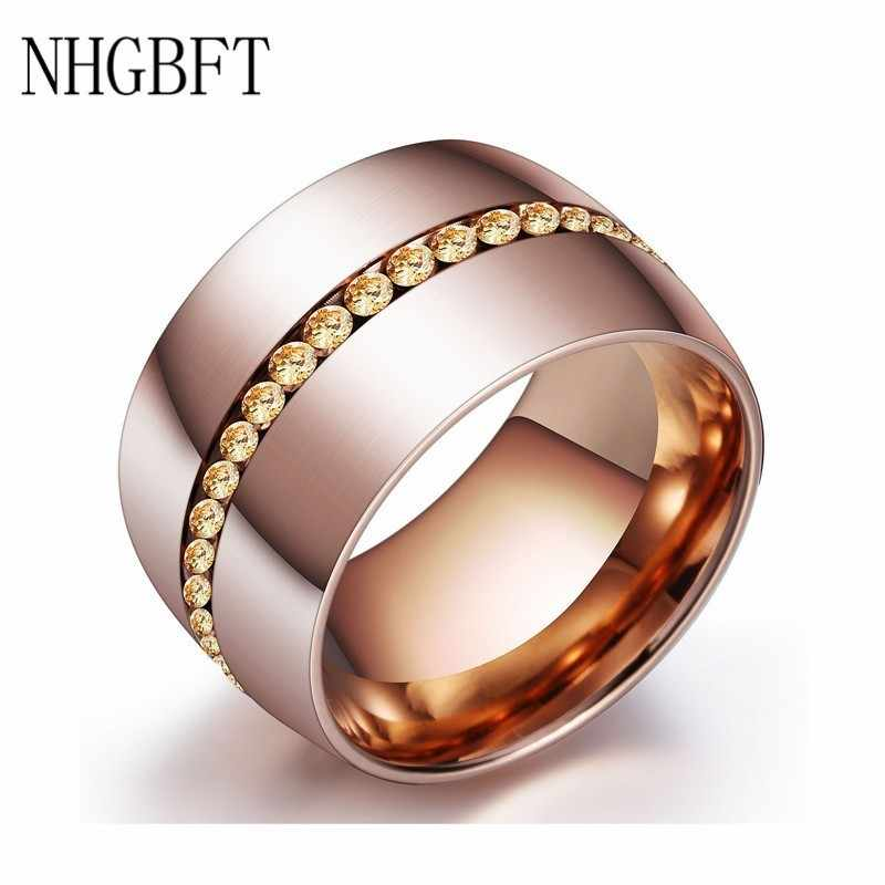 NHGBFT Rose gold color Stainless Steel Ring for Women Wedding Engagement CZ Zircon Ring Female Jewelry