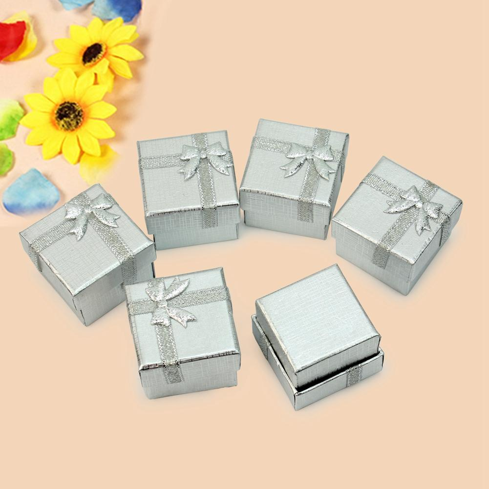 24pcslot bulk silver earring storage boxes square jewelry ring gift cardboard box display packaging wedding present case holder