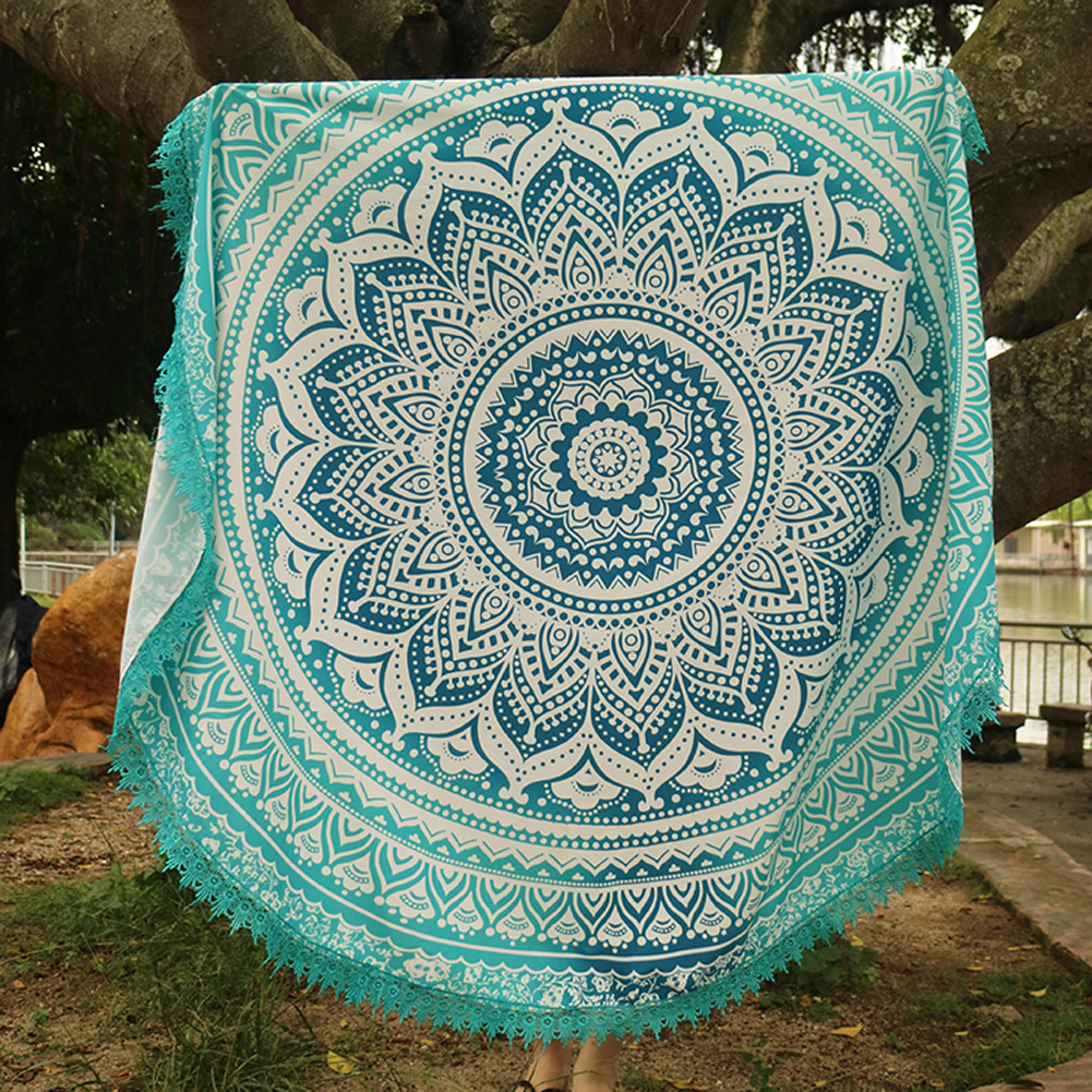 Handmade Summer Beach Towels Floral Printed Lace Tassels Round Blanket Bath Towel Swim Cover-ups High water absorbent Yoga Mat 10