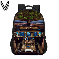 VEEVANV New Aircraft Cabin Printing Backpacks For Teenage Girls Boys Aircraft Cockpit Bags School Bookbag Children School Gifts
