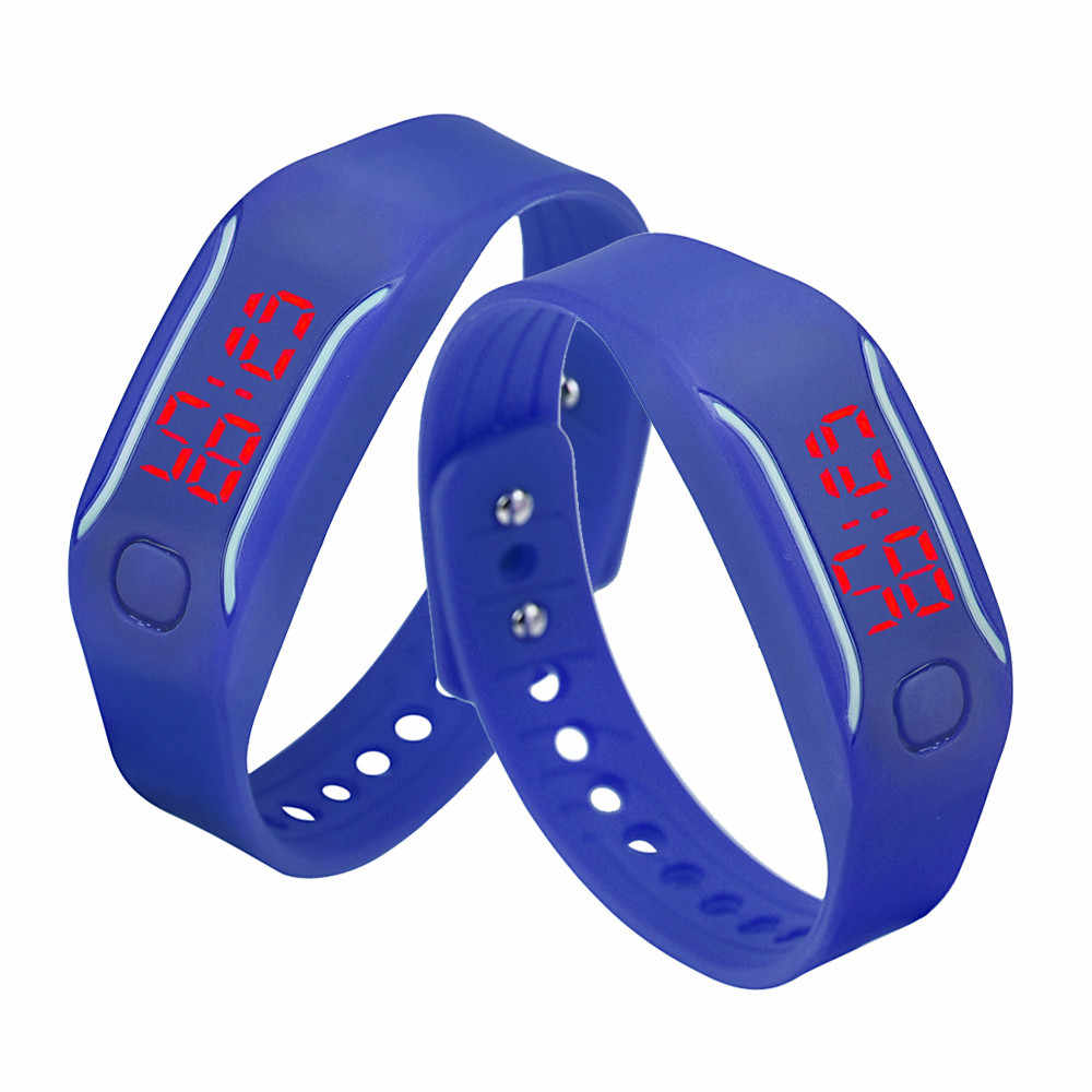 Pria Wanita Silikon Merah LED Tanggal Tontonan Gelang Olahraga Pergelangan Tangan Digital Jam Tangan untuk Wanita Perempuan Pria Blaus Feminino Reloj Hombre