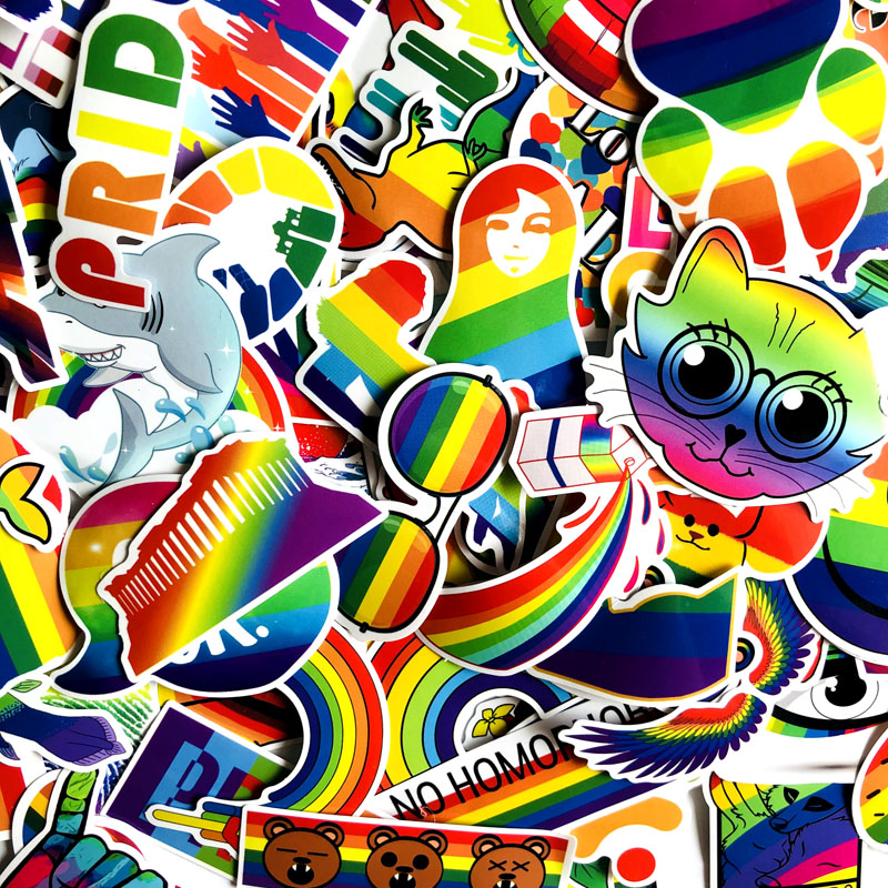 Image 3 - 100Pcs Gay Pride Rainbow Hand Reflective Car Sticker Decal PVC Irregular Funny Decal  Car Styling-in Car Stickers from Automobiles & Motorcycles